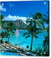 Waikiki And Sailboat Acrylic Print