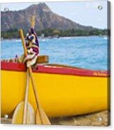Waikiki Canoe Paddles Acrylic Print
