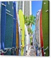 Waikiki Surfboards Acrylic Print