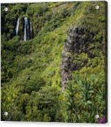 Wailua Falls And Tropical Plants Acrylic Print