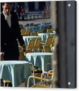 Waiter Preparing For The Day In Piazza San Marco In Venice Acrylic Print