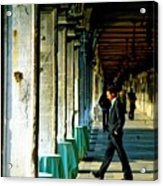 Waiter Walking At San Marco In Venice Acrylic Print by Michael Henderson