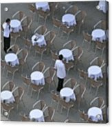 Waiters At Empty Cafe Terrace On Piazza San Marco Acrylic Print
