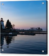 Waiting For Sunrise - Blue Hour At The Lighthouse Infused With Soft Pink Acrylic Print