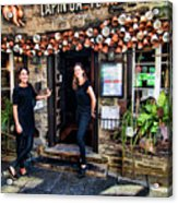 Waitresses At Outdoor French Terroir In Old Quebec City Acrylic Print