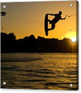Wakeboarder At Sunset Acrylic Print by Andreas Mohaupt