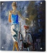 Waking Aside Her Bike 68 Acrylic Print