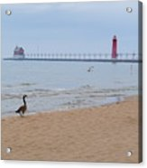 Walk On Lake Michigan Acrylic Print