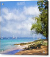 Walking Along The Beach, Holetown, Barbados Acrylic Print