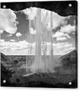 walking behind Seljalandsfoss waterfall iceland Acrylic Print