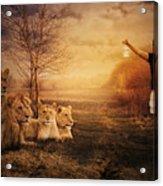 Walking Between Lions Acrylic Print
