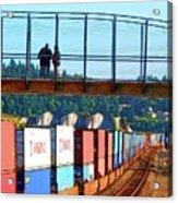 Walking Bridge Over The Tracks Acrylic Print