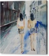Walking In The Street Acrylic Print