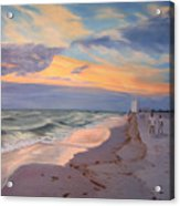 Walking On The Beach At Sunset Acrylic Print