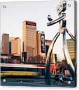 Walking Tall Traveling Man - Dallas Texas Skyline Acrylic Print