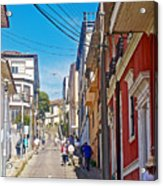 Walking Up Steep Streets In Hilly Valparaiso-chile Acrylic Print