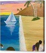 Walking With You On Beach Acrylic Print