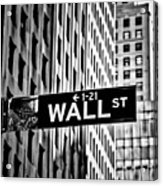 Wall St Sign New York In Black And White Acrylic Print