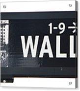 Wall Street Sign Close Up 1 Acrylic Print