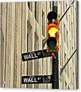 Wall Street Traffic Light Acrylic Print by Oonat
