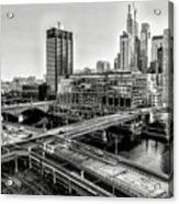 Walnut Street City View In Black And White Acrylic Print