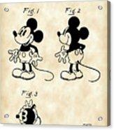 Walt Disney Mickey Mouse Patent 1929 - Vintage Acrylic Print