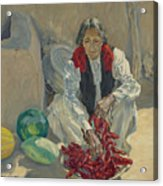 Walter Ufer 1876-1936 Stringing Chili Peppers Acrylic Print