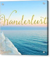 Wanderlust, Santorini Greece Ocean Coastal Sentiment Art Acrylic Print