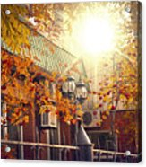 Warm Autumn City. Warm Colors And A Large Film Grain. Acrylic Print