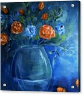 Warm Blue Floral Embrace Painting Acrylic Print