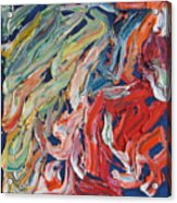 Warm Current. Colorful Painter Palette. Exhausted Paint And Abstract Painting. Acrylic Print