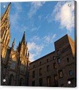 Warm Sun Glow On The Cathedral Of Barcelona Acrylic Print