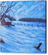 Warm Winter Barn Acrylic Print