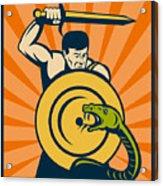 Warrior With Sword Serpent Acrylic Print