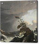Warships In A Heavy Storm Acrylic Print