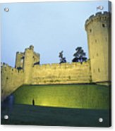 Warwick Castle At Dawn With A Man Acrylic Print by Richard Nowitz