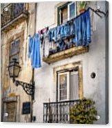 Washday Blues In Lisbon Portugal  Acrylic Print