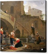 Washerwomen By A Roman Fountain Acrylic Print