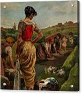 Washerwomen In Candas Asturias Amoros Botella, Antonio Acrylic Print