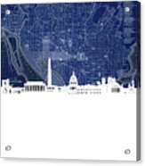 Washington Dc Skyline Map 4 Acrylic Print