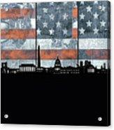 Washington Dc Skyline Usa Flag Acrylic Print