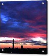Washington Monument Dramatic Sunset Acrylic Print