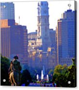 Washington Looking Over To City Hall Acrylic Print by Bill Cannon