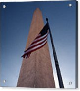 Washington Monument Single Flag Acrylic Print