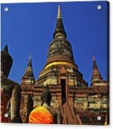 Wat Yai Chai Mongkol In Ayutthaya, Thailand Acrylic Print