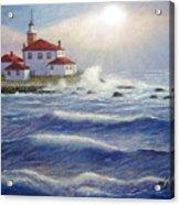 Watch Hill Lighthouseri In Breaking Sun Acrylic Print