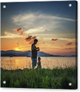 Watching Sunset With Daddy Acrylic Print