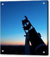 Watchnig The Sky, Astronomy Telescope Against Evening Sky And Moon Acrylic Print
