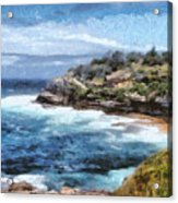 Water Cove With Rocky Cliffs Acrylic Print