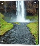 Water Falling In Iceland Acrylic Print